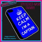 FITS IPHONE 4 / 4S PHONE KEEP CALM IM A  CAPTAIN PLASTIC COVER COOL GIFT BLUE